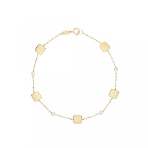 Pulsera de oro amarillo de 18 kilates con bolitas de oro blanco diamantado