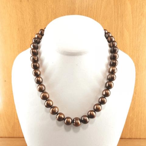 Collar de perlas cultivadas 11/12mm color chocolate