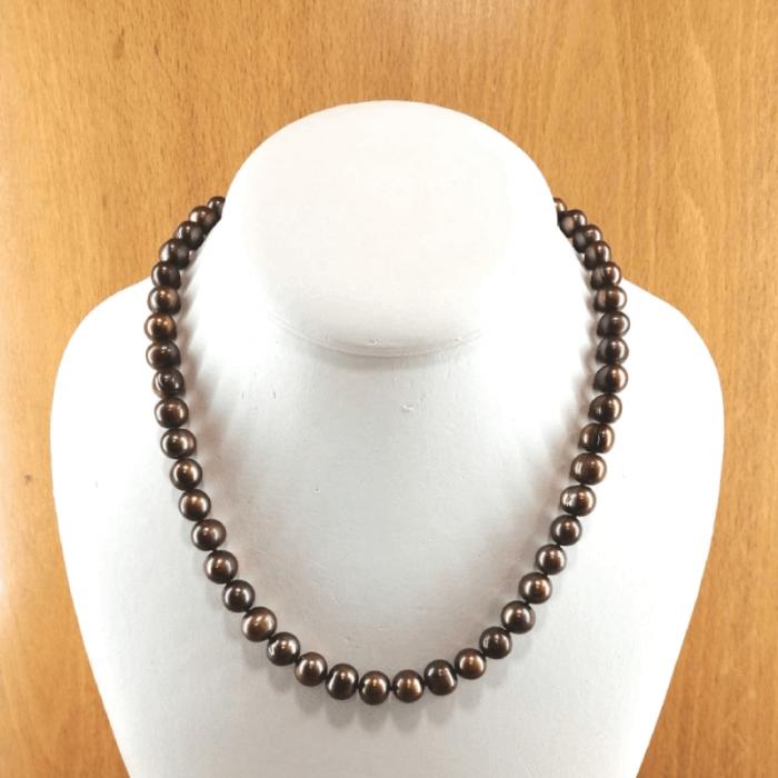 Collar de perlas cultivadas 8mm color chocolate cierre plata