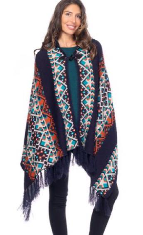 Poncho Peace and Love azul marino