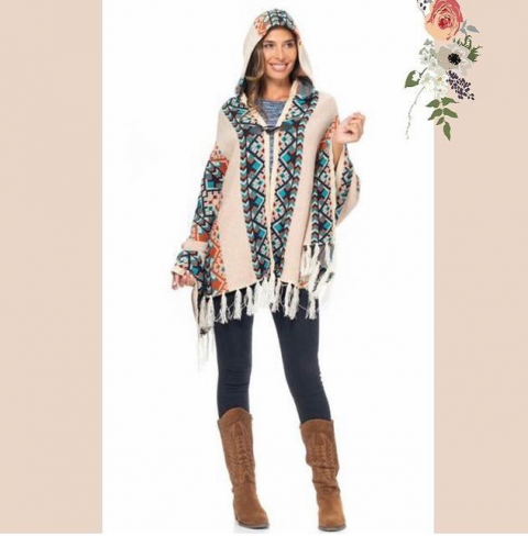 Poncho Peace and Love azul en crudo con capucha