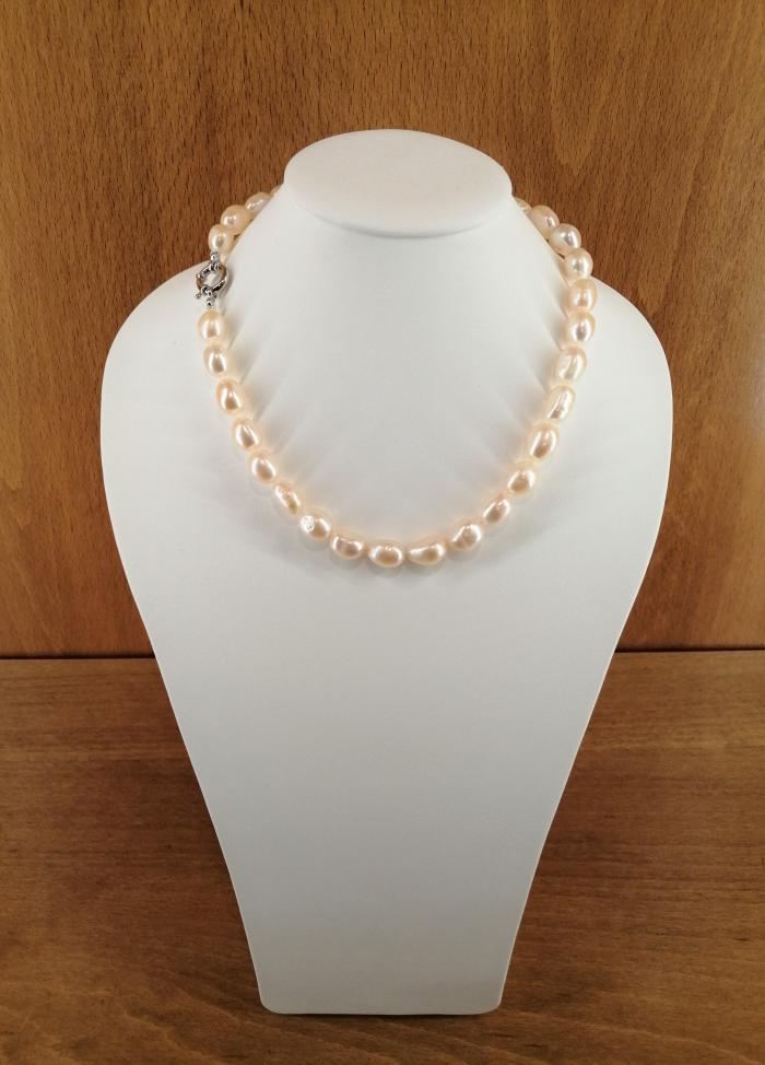 Collar de perlas cultivadas barrocas de 10-13mm, con cierre en plata rodiada