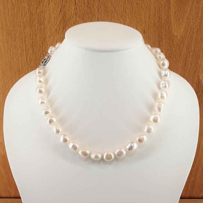 Collar de perlas cultivadas barrocas de 9-12mm, con cierre en plata de ley rodiada