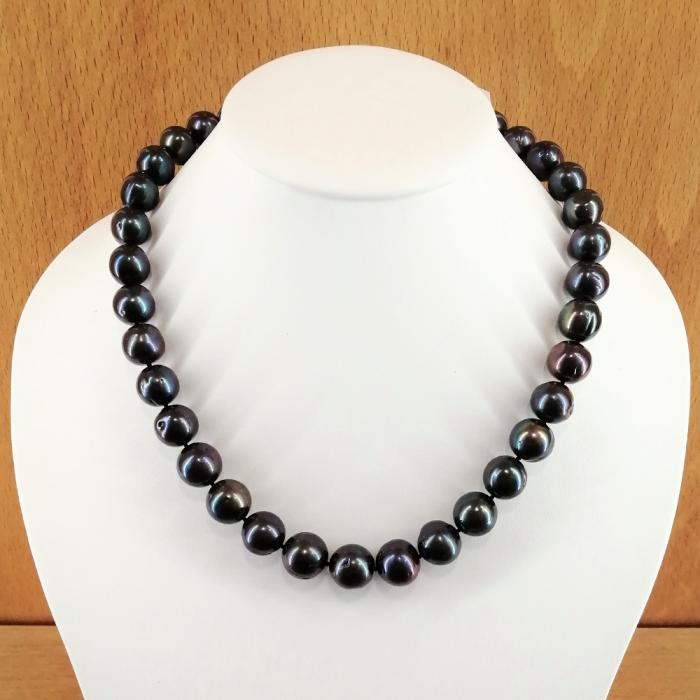 Collar de perlas cultivadas de 11-13mm, con cierre en plata de ley rodiada