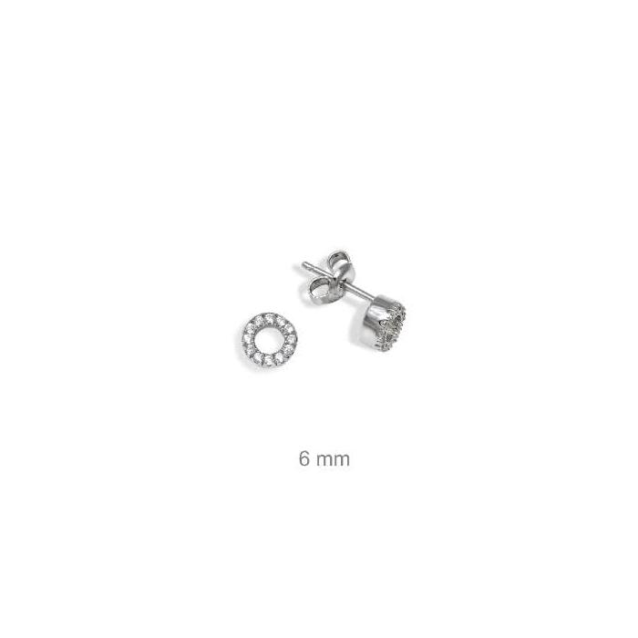 Pendientes mini círculo en plata y circonitas